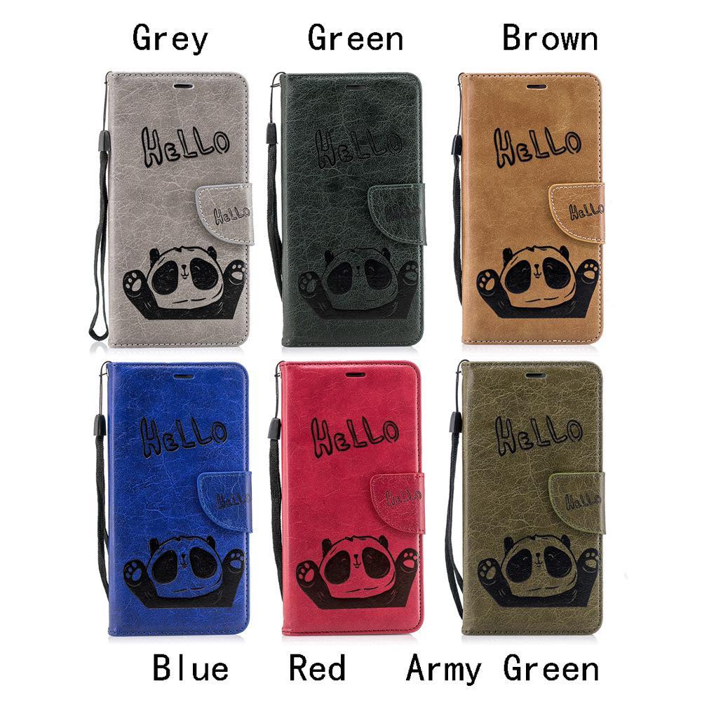 Cute Bear Saying Hallo Handy Brieftasche Fällen Stand PU Lederbezug mit Handschlaufe Kartensteckplätze (67 Modelle für Option)