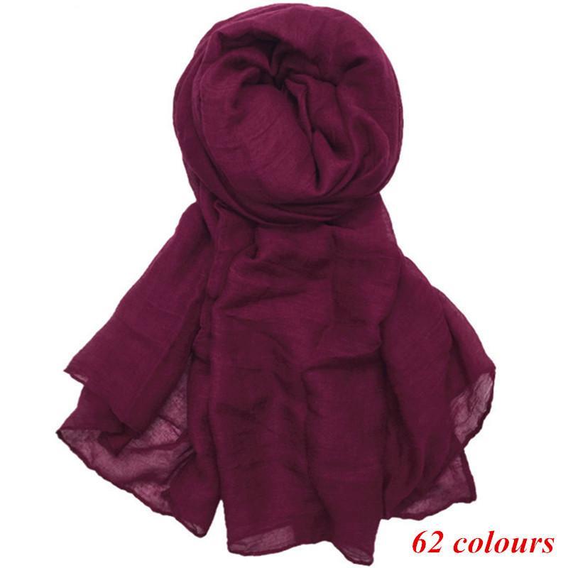 2018 large maxi plain scarf solid hijab fashion wraps foulard viscose cotton shawls soft muslim women scarves hijabs 10pcs/lot D18102905