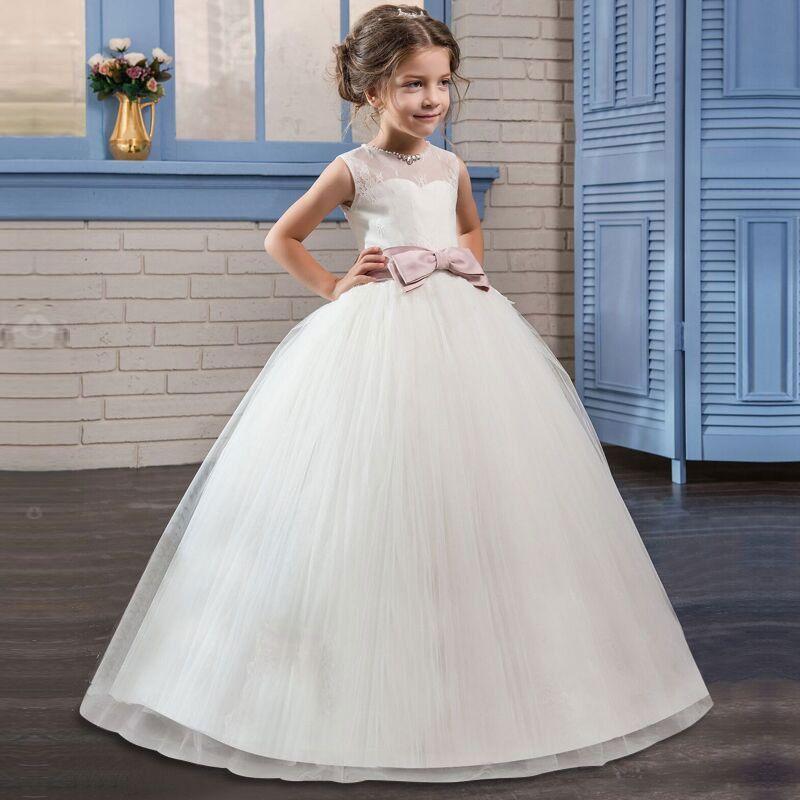 Neue Blumenmädchen Kleid Spitze Perlen Friesen Kind Tuch Ball Gewachsen Illusion Reißverschluss Bogen Für Party Hochzeit Mädchen Kleid