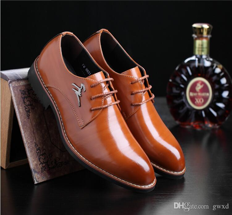 2018 New style Fashion Genuine Leather Men Oxford Shoe Lace Up Casual Business Brand Mens Wedding Shoes Mens Dress Shoes J26