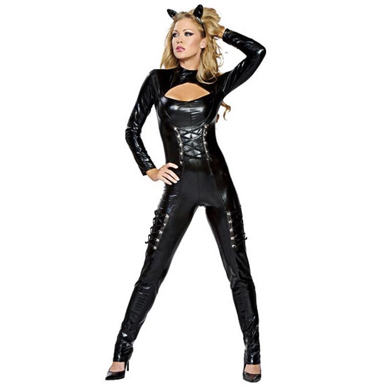 Catwoman con Headwear Catwoman frente ahueca hacia fuera el juego de Halloween del vestido conjunto flaco mono Cosplay Wear Bodycon Jumpsuit