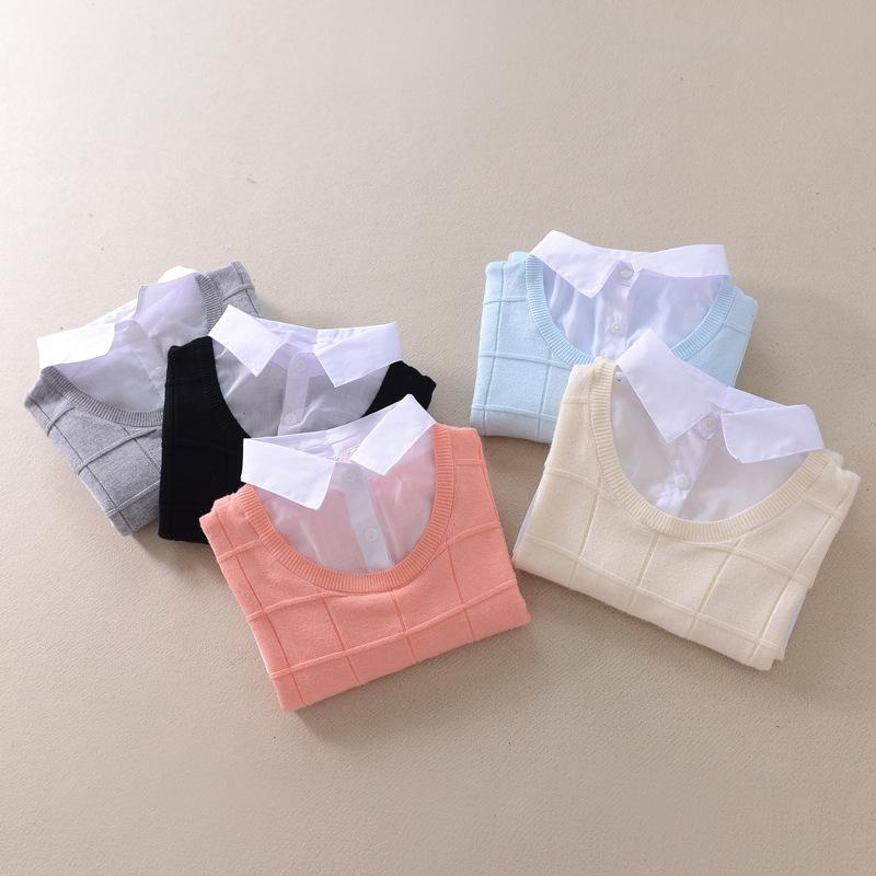 Großhandel Herbst Winter Sweat Shirt Patchwork Fake 2 Stück Strickpullover Casual Langarm Damen Pullover Grau Blau Pink Schwarz Von Dreamcloth, $24.77