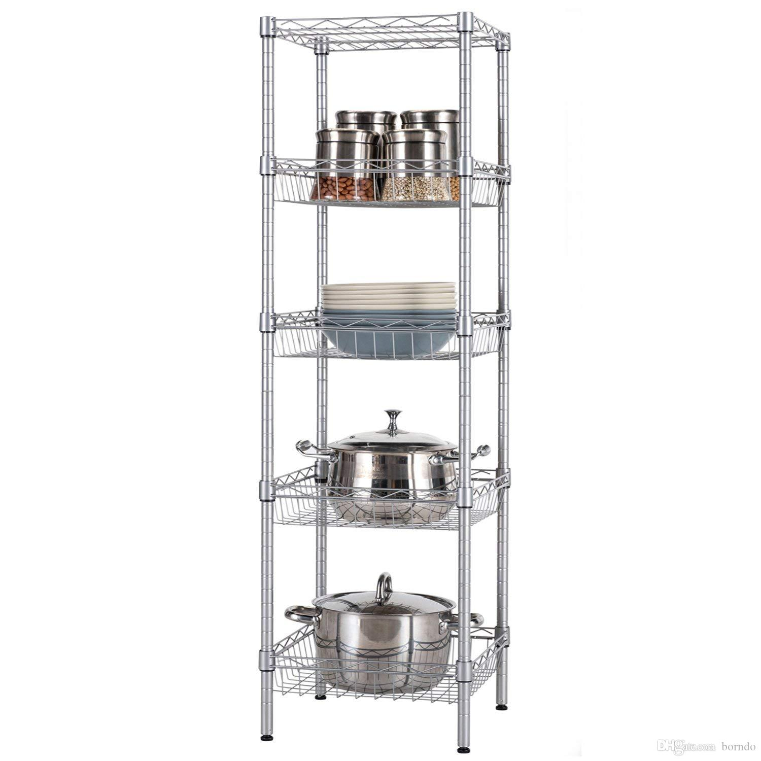 2019 Open Kitchen Metal Rack And Shelves Units, Pots And Pans Wine Dishes  Storage Organizer ,Baker\'S Rack, Silver Gray Steel 5 Tiers From Borndo, ...