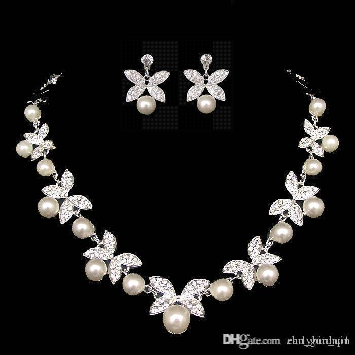 Nueva boda elegante joyería nupcial de plata Rhinestones