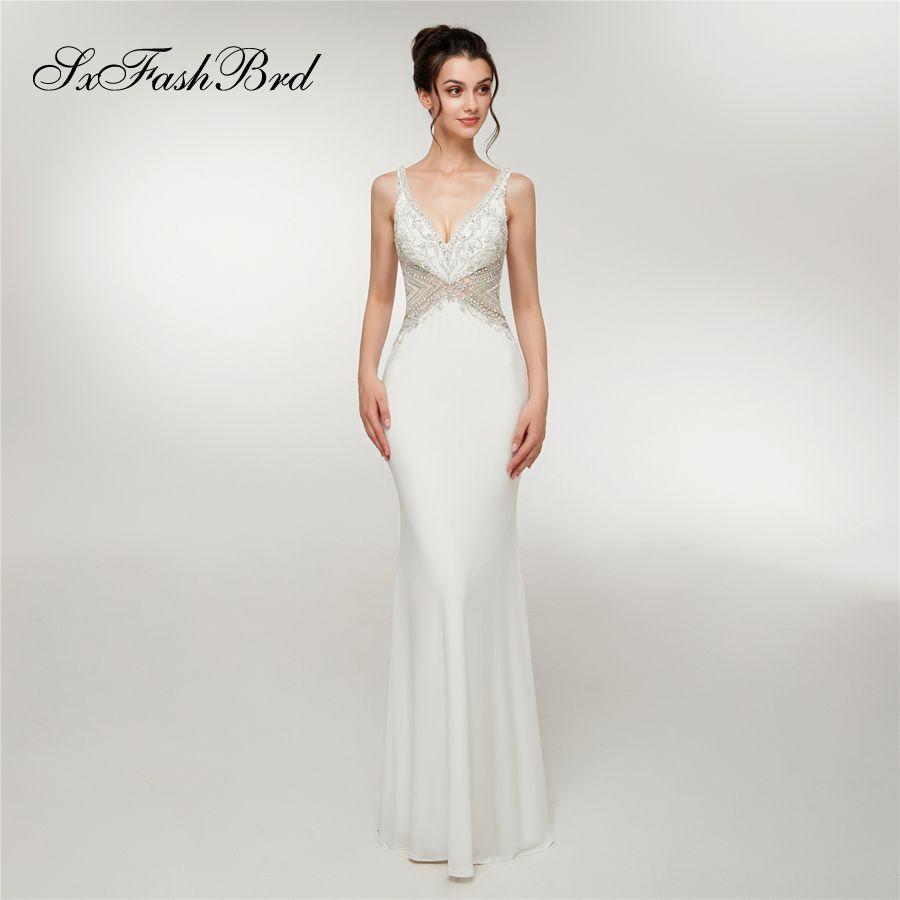 Особые случаи Новое платье бисером V-образным вырезом с открытой спиной Русалка длинные вечерние вечерние платья женщин платье выпускного вечера