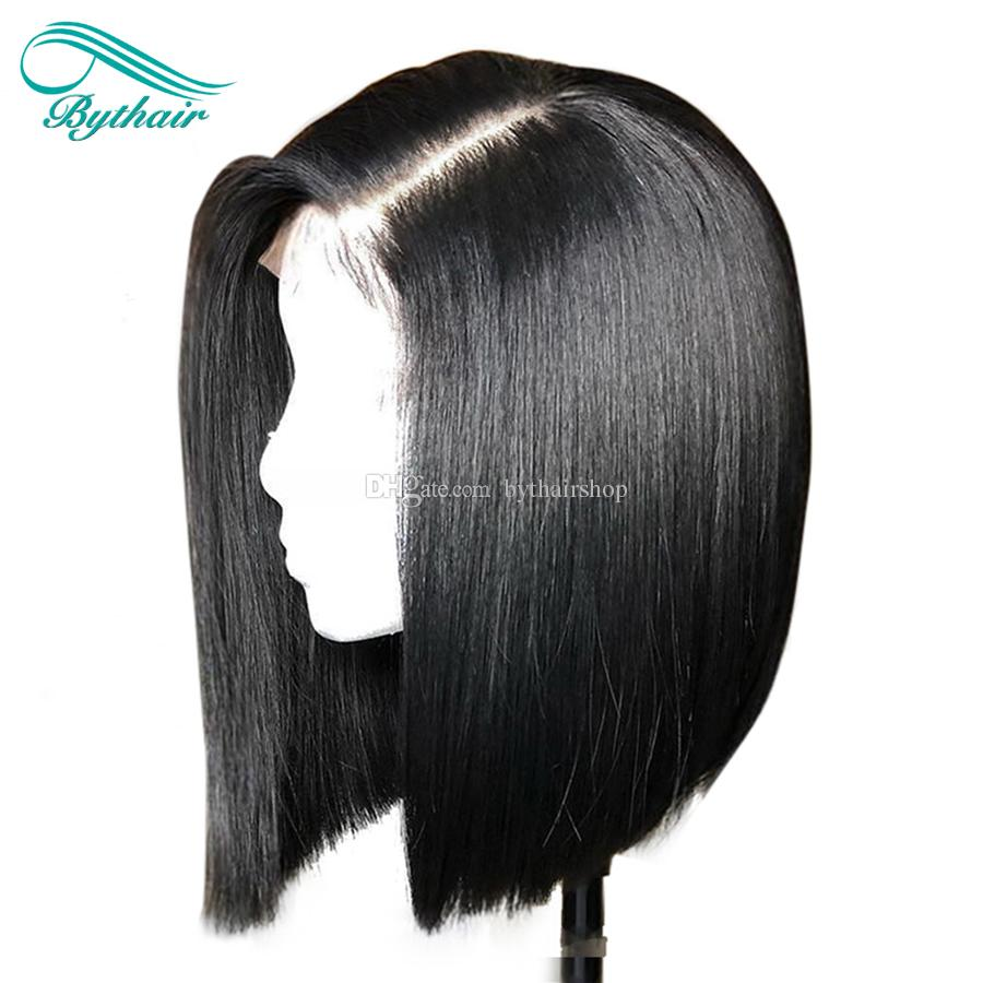 Bythair Human Hair Full Lace Wig Short Bob Wig Lace Front Wig Brazilian Virgin Hair Pre Plucked Hairline 150 Density Bleached Knots Glueless