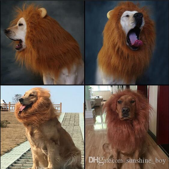 2018 Pet Hair Ornaments Costume Cat Halloween Clothes Fancy Dress Up Lion Mane Wig for Large Dogs white black brown