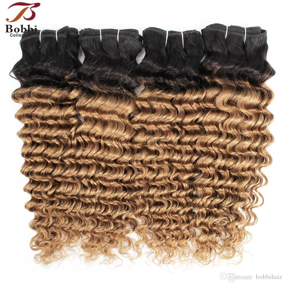 1B 27 Ombre Blonde Deep Wave Hair Weave Bundles Brazilian curly hair Two Tone 3/4 Pieces 10-24 inch Remy Human Hair Extensions