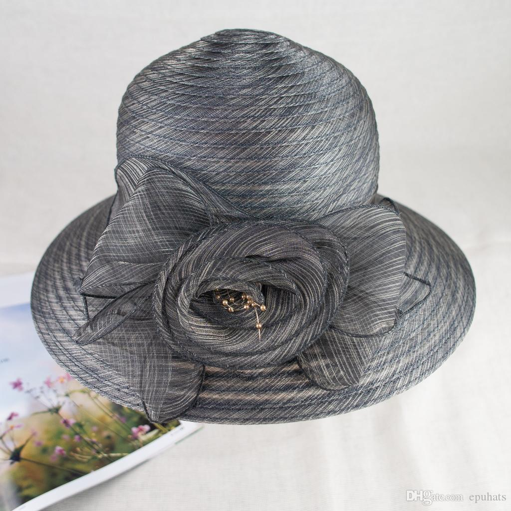 New Organza Floral Trim Fancy Summer Hat Elegant and Vogue for Ladies EPU-MH1812