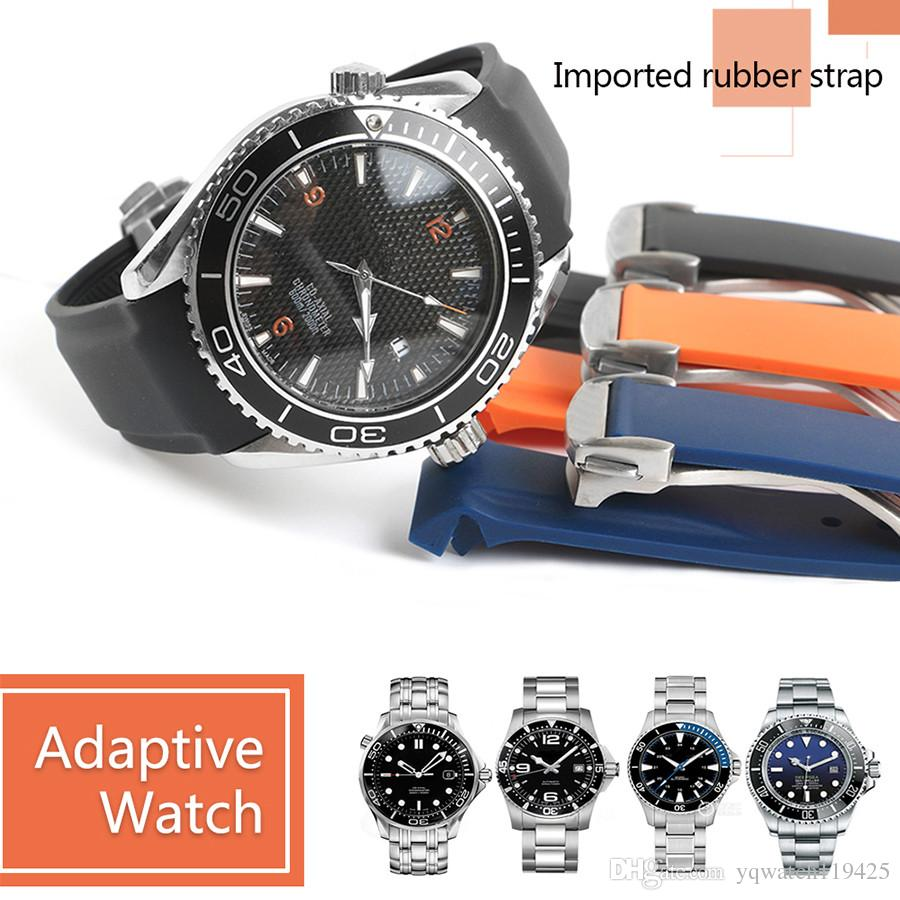 20 mm 22mm bracelets de montres Bracelet Hommes Femmes Noir Orange imperméable en caoutchouc silicone Bracelet Bracelet déployante pour OMG Outils Planet-Ocean