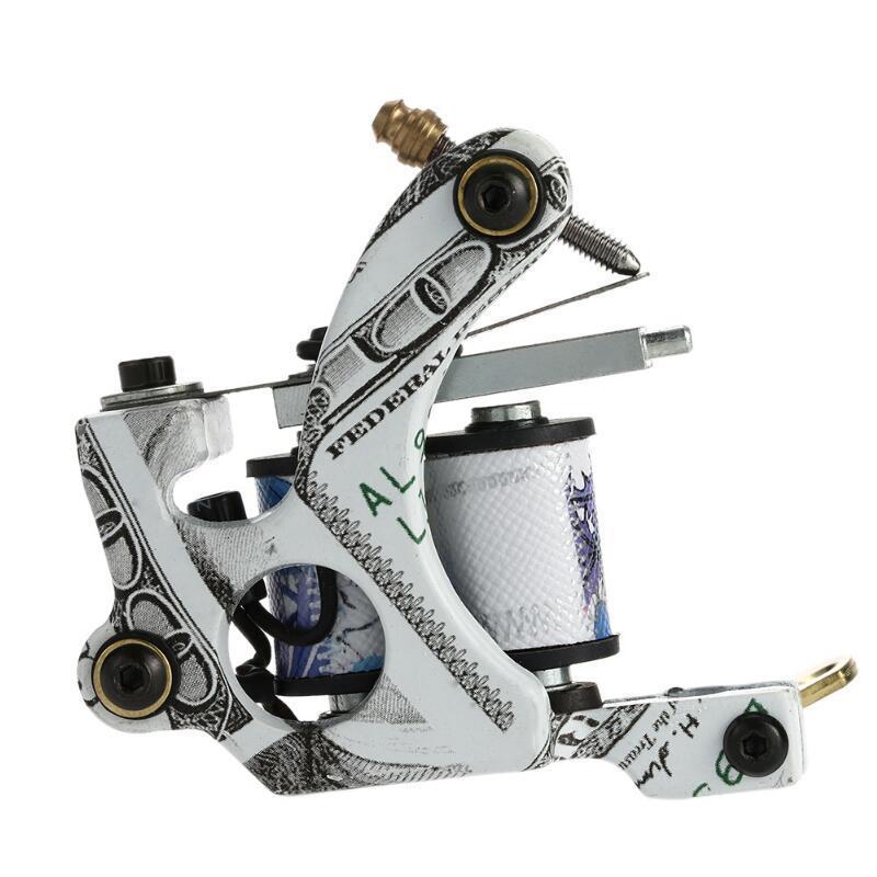 10 Bobinas de envoltura Máquina de tatuaje Shader Liner Acero al carbono Rotativo Surtido Tatoo Motor Gun Instrumento de maquillaje permanente Herramientas