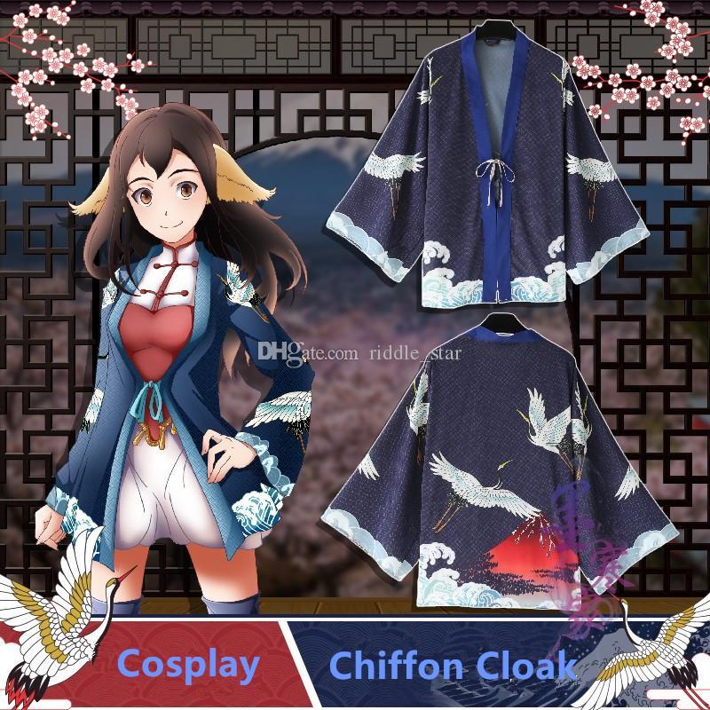 Japon Anime Rouge-Crane Grue Crpowerfule Unisexe Doux Cosplay Halloween Costume Peignoir Haori Kimono Cape En Mousseline