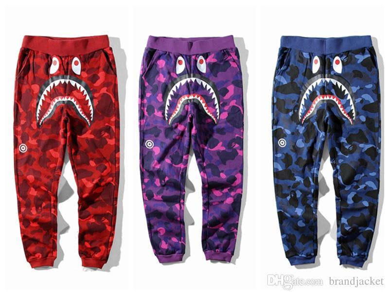 Nouveau Adolescent Hip Hop Personnalité Requin Bouche Camouflage Impression Casual Pantalon Mâle Hip Hop Pied Sport Pantalons De Survêtement Cargo Pants pour Track