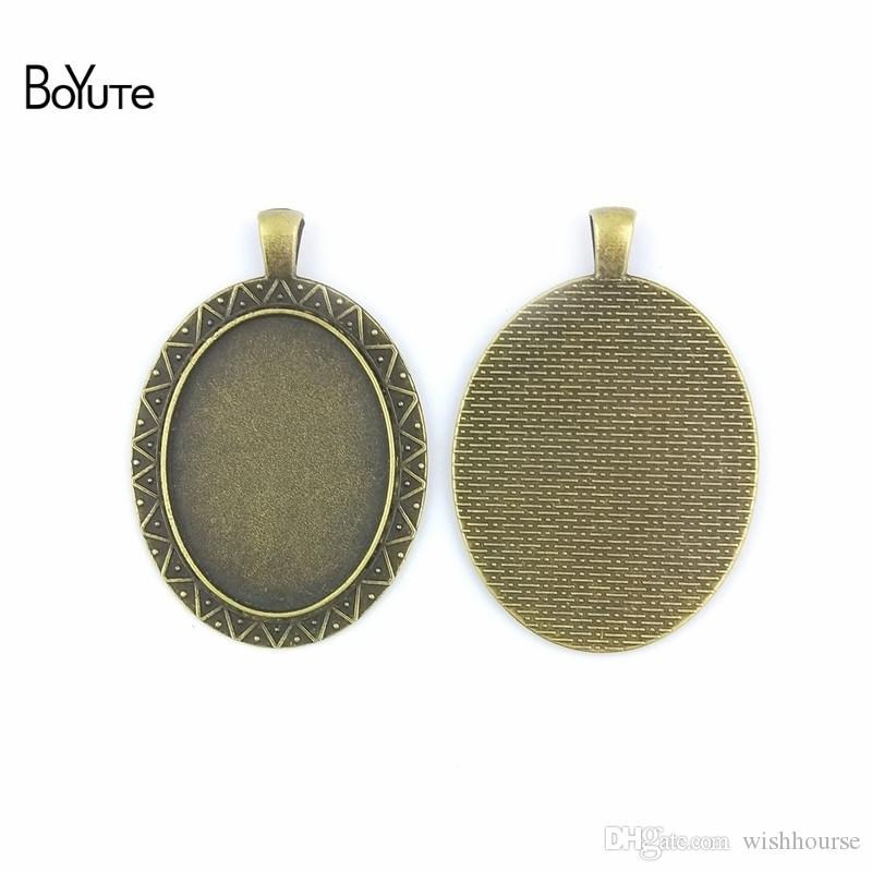 BoYuTe (20 Pieces/Lot) 40*30MM Cabochon Setting Oval Glass Cabochon Setting Pendant Blank Base Diy Bracelet Necklace Jewelry Accessories