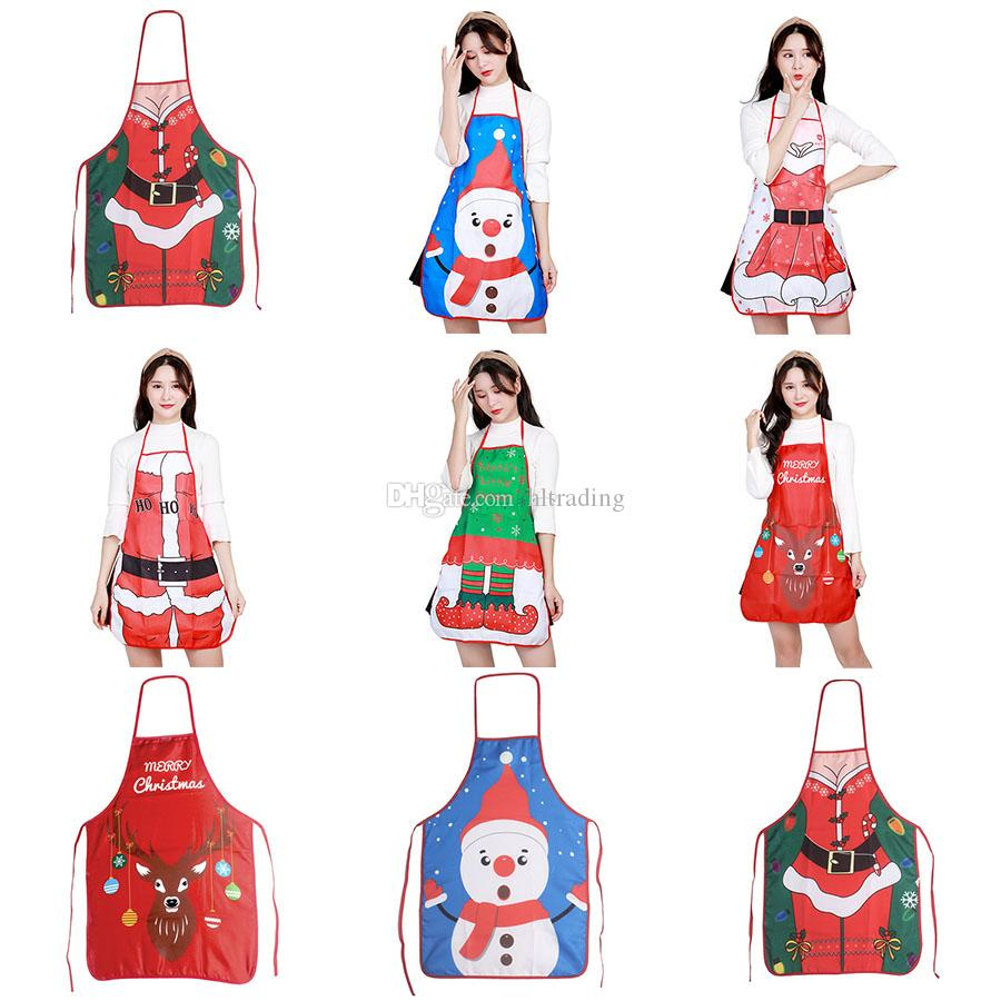 Christmas decoration Apron Merry Christmas Holiday Cooking Aprons Santa Claus Deer aprons party Home Kitchen supplies 7 colors C3200