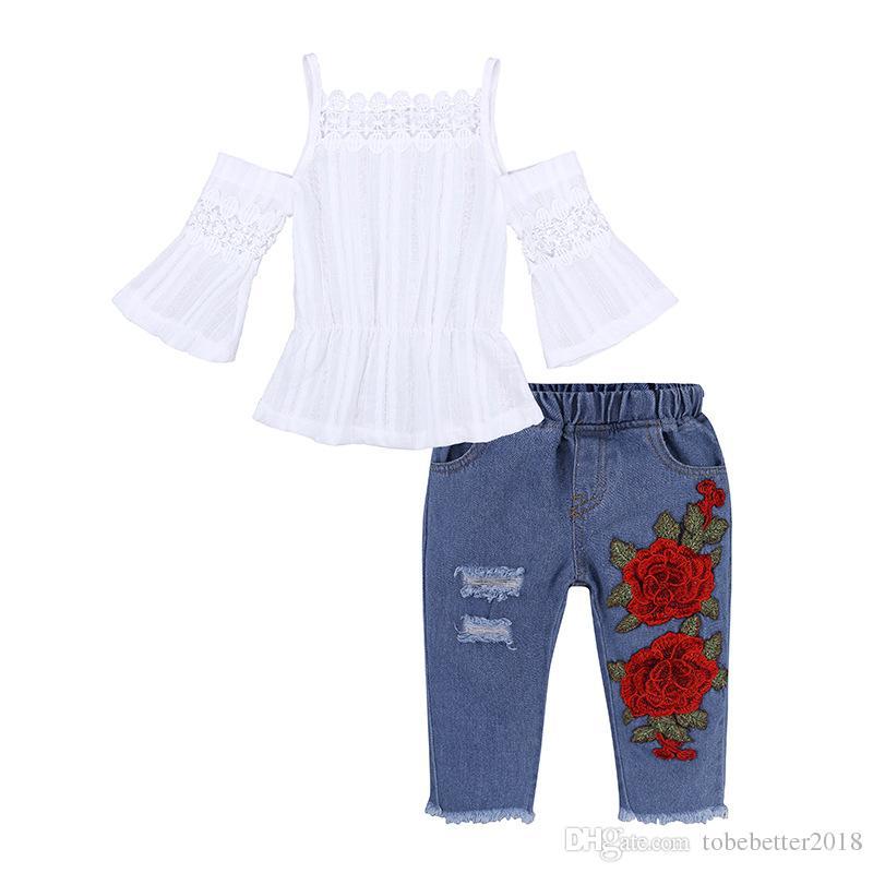 Neugeborene Kinder Baby Mädchen Sling Weiß Tops bestickt Denim Lange Hosen Loch Jeans Outfits Kleinkind Säuglingskleidung Set
