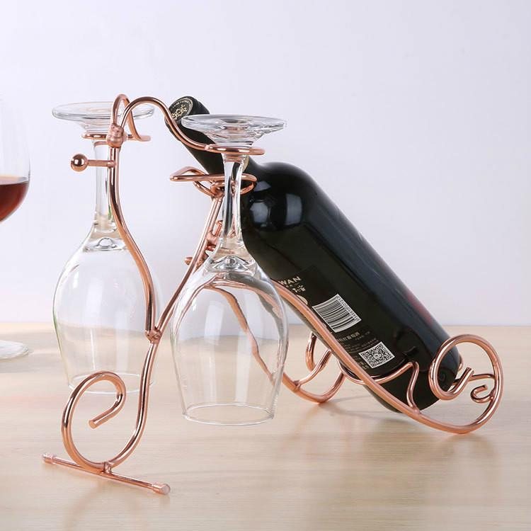 2018 Yeni basit modern yüksek dereceli metal cam ahşap paslanmaz çelik kaliteli toptan Avrupa yaratıcı şarap rafı
