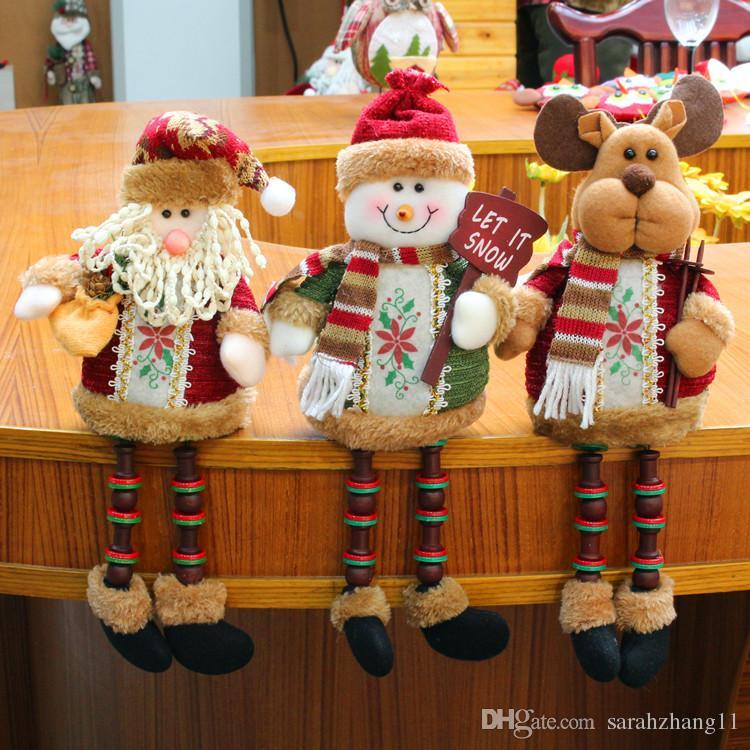 3PCS/Set Super Cute Christmas Plush Toy Long Leg Sitting Santa Clause Snowman Reindeer Doll Christmas Ornaments