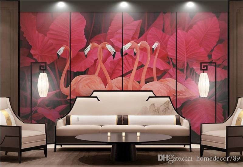 Custom Photo 3d Wall Murals Nature Red Tropical Plants Wallpaper ...