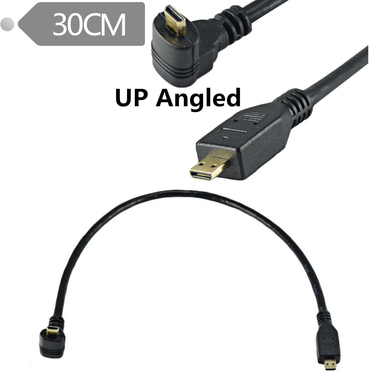 1FT Micro HDMI Male to Male UP Angled Cable Cord Adapter Converter MM PC Tablet
