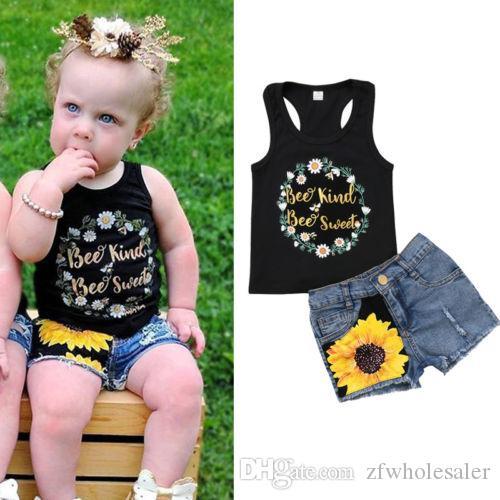 Bébé Fille Boutique Vêtements Set Noir Gilet + Denim Pants Toddler Outfit Nouveau-Né Infant Enfants Vêtements