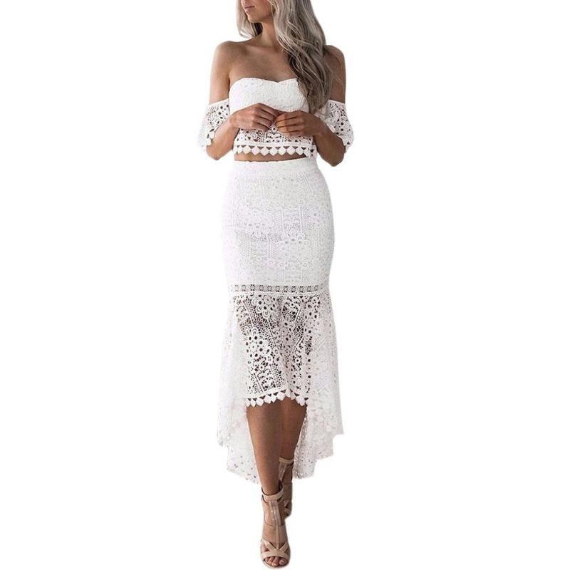 2pcs Women Set Summer Off Shoulder Lace Bohemian Tops Pencil Skirt Suit Female Ladies Elegant Sexy Party Vacation Fishtail Dress Y1891903