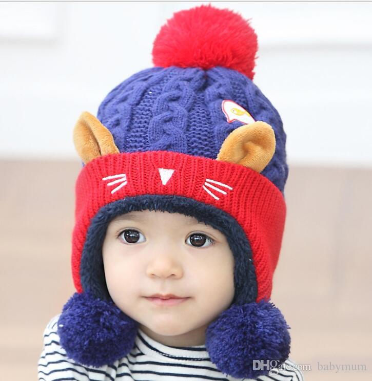 2018 Winter Cute Baby Kids Hat Wool Beanies Baby Warm Beanies knitted Winter Cartoon Cat Ear cap for Boys And Girls