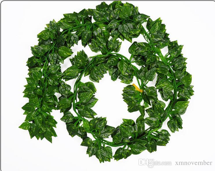 Atacado-12pcs como Real Artificial Silk Uva folha Garland Faux Vine Ivy Indoor / Outdoor Home Decor casamento flor verde presente de Natal