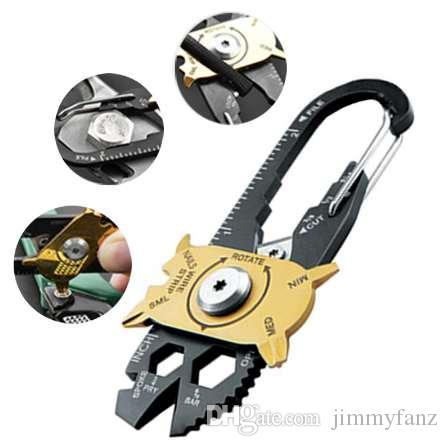 Gadget Tragbare EDC Mini Dienstprogramm Fixr 20 in 1 Multi Tool Keychain Outdoor Camping Werkzeuge Karabiner Für Überleben Klettern