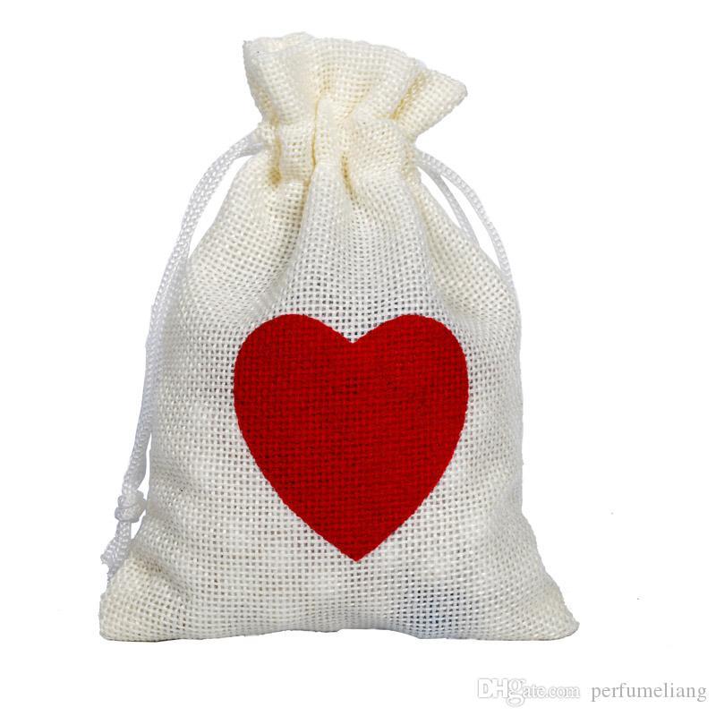 10 * 15cm Decorazioni di Nozze Regali di favore di favore Borsa ROSSO Amore Cuore Borsa di tela Sacchetti di caramelle Festa di compleanno Decor Bag QW7725