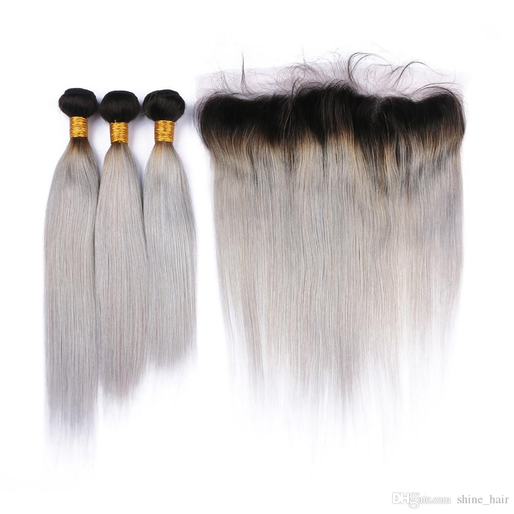 Silver Grey Ombre Brazilian Human Hair Bundle Deals with Lace Frontal Closure 13x4 Straight #1B/Gray Ombre Virgin Hair Weaves with Frontals