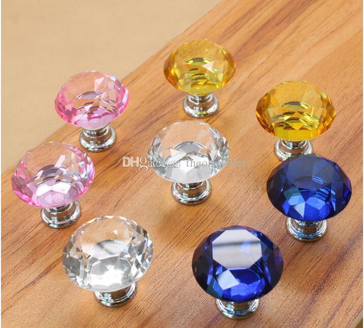 Fashion Hot Clear Crystal Knob Cabinet Pull Handle Drawer Kitchen Door Wardrobe Hardware 30mm Diamond Crystal Glass Door Knobs