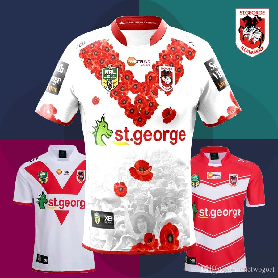 2018 New St. George Illawarra Dragons Rugby Jerseys 2019 NRL Home And Away Shirts National Rugby League Dragons Commemorative Edition Tops