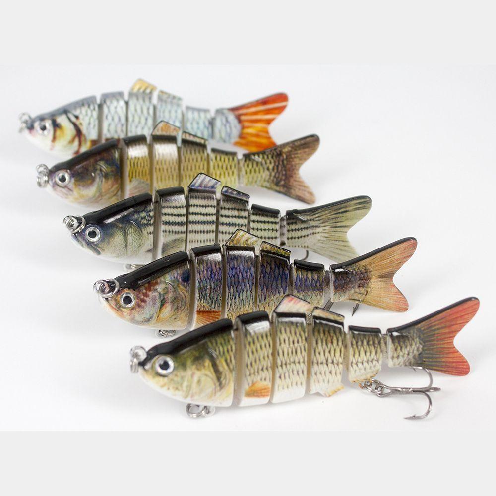 Fishing Bass Lure Multi Jointed Artificial Bait Segment Lifelike Trout Swimbait Hard Crankbait Treble 6# Hooks 10cm 19.5g