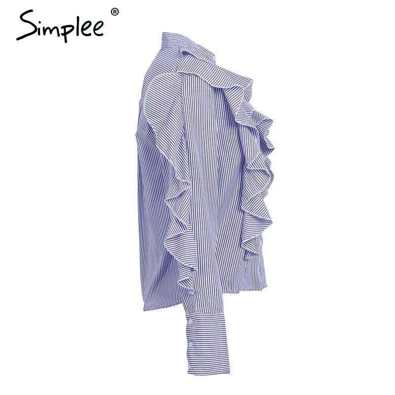Simplee Ruffle stripe blouse shirt women tops Casual streetwear blue female louse Long sleeve 2017 autumn female clothing