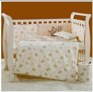 Embroidery cartoon bear Baby bedding set 100% cotton white Crib bedding set quilt pillow bumper bed sheet 5 item Cot bedding set