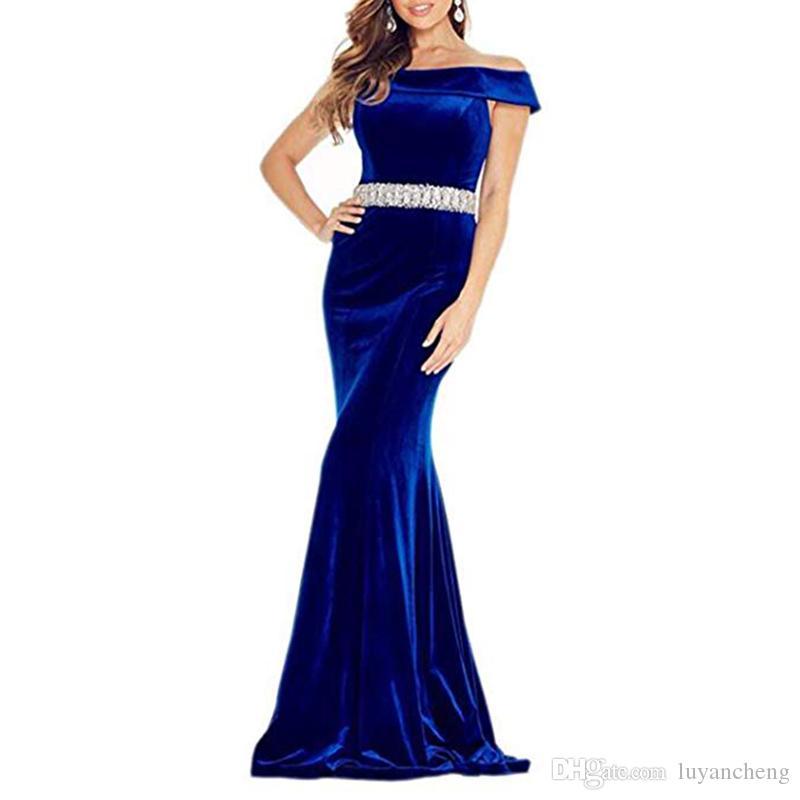 Épaule Mermiad Velvet Robes De Bal Royal Bleu Long Formelle Robes De Soirée Femmes Avec Ceinture Perlée