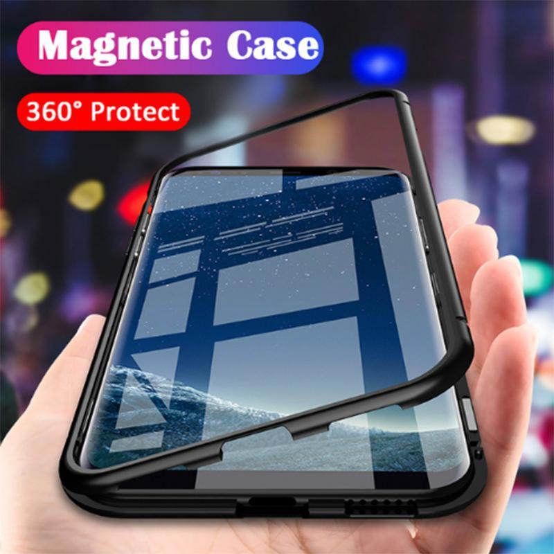 Etui de protection magnétique pour Samsung Galaxy S8 S9 plus Etui d'adsorption magnétique pour coque en verre trempé Samsung Galaxy note 8