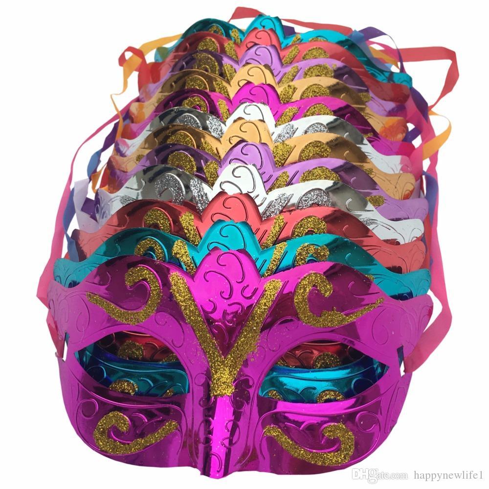 12 unids / lote, oro brillante plateado partido máscara de la boda mascarada máscara de mardi gras