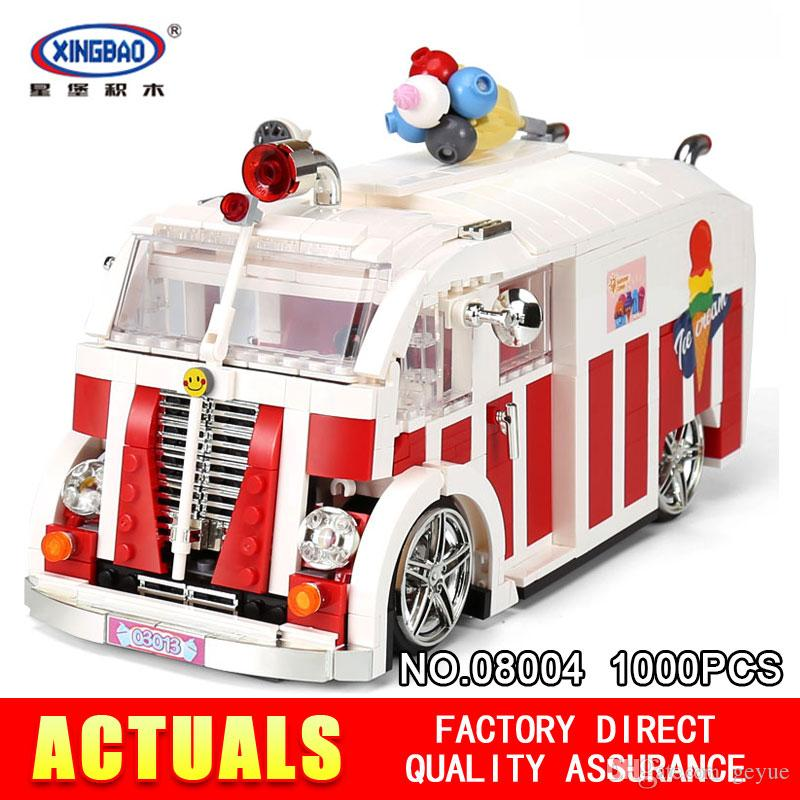 XINGBAO 08004 1000Pcs Creator The Ice Cream Car Set Bloques de construcción Ladrillos Niños Juguetes educativos Modelo como Navidad