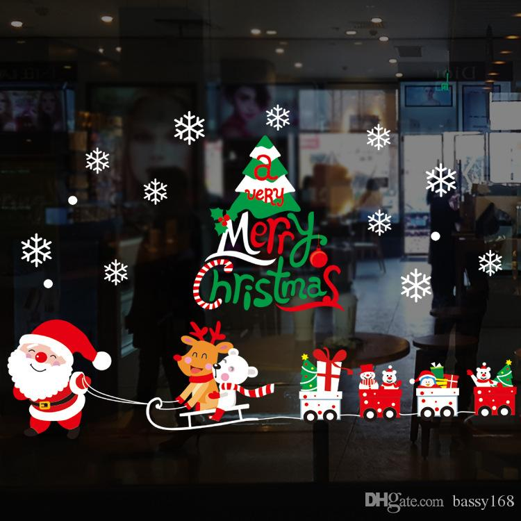 Christmas Moon Snowflake Wall Stickers Xmas Decoration For Kids Room Shop Window Decal PVC Wallpaper Hot selling Wholesale 20pcs/lot