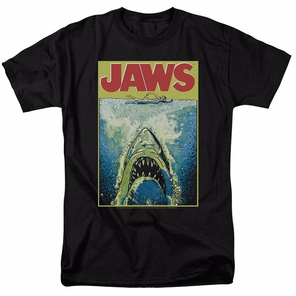 Jaws Movie Poster Retro Vintage Classic Universal Studios Men\u0027S Adult  Graphic Tee T Shirt T Shirt With Shirt Moto Shirts From Tee4u, $12.7