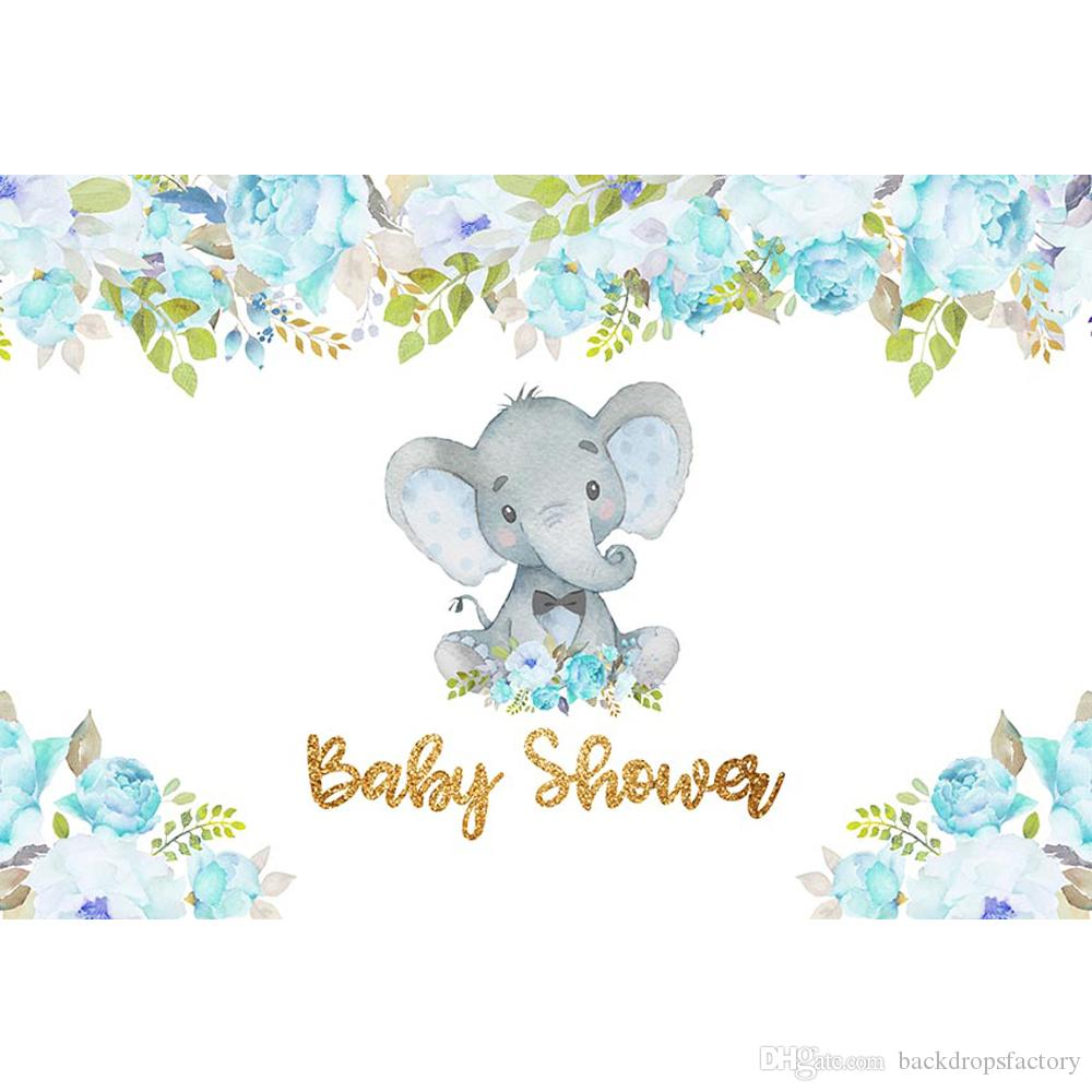 2020 Newborn Baby Shower Boy Elephant Backdrop Printed Blue Flowers Green Leaves Customized Birthday Party Photo Booth Background From Backdropsfactory 17 57 Dhgate Com