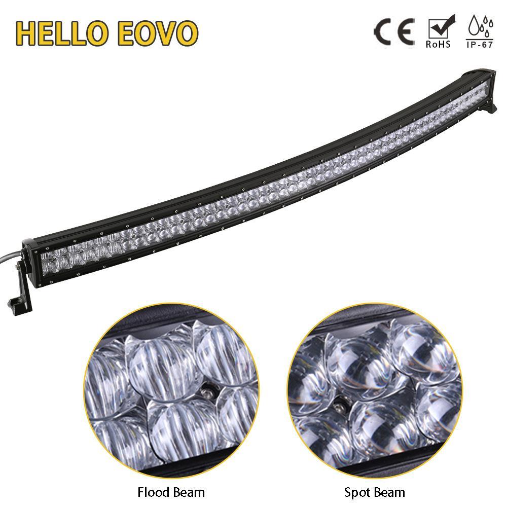 HOLA EOVO 5D 52 pulgadas barra de luz LED curvada para los indicadores de trabajo de conducción Offroad Barco Tractor Camión 4x4 SUV ATV 12V 24V