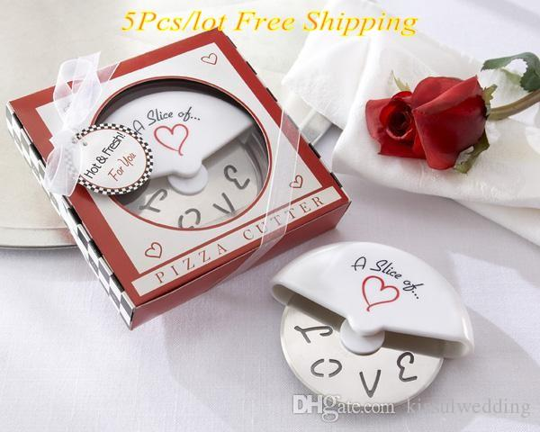 "5Pcs/lot Wedding Favor ""A Slice of Love"" Stainless-Steel Pizza Cutter Bridal Shower Favors For wedding souvenirs and Love Gift"