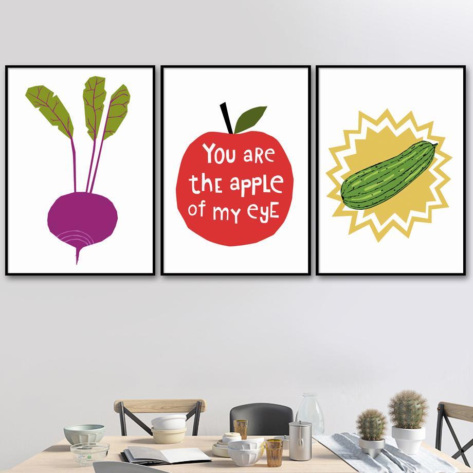 Zucchini Apfel Radieschen Poster und Drucke Kunstdruck Leinwand-Malerei-Küchen-Plakat Nordic Wandbilder für Wohnzimmer-Dekor