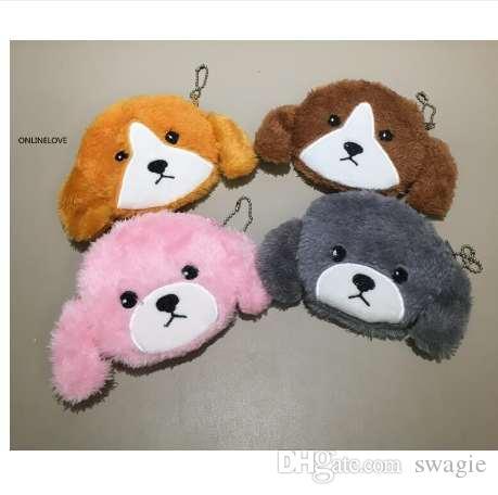 4colors-12 см новые плюшевые собаки Леди девушки подарок портмоне, рука маленькая монета кошелек сумка, брелок кулон монета мешок