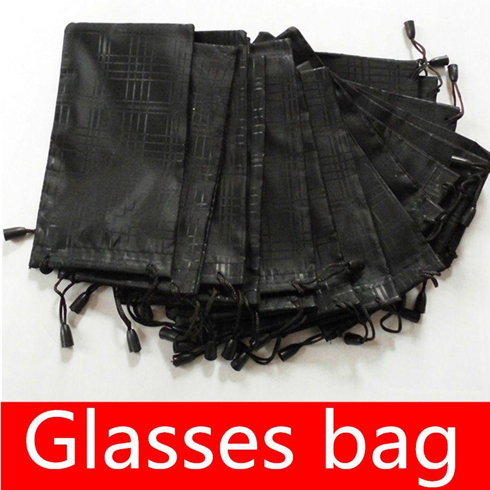 Promotion Lunettes Sacs Soux Soft Tissu à carreaux Lunettes de soleil Sac Lunettes Pochettes Noir Couleur 17.5 * 9.3cm MOQ = 20pcs