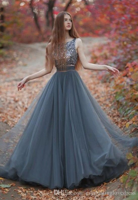 Beautiful A Line Grey Long Prom Dresses With