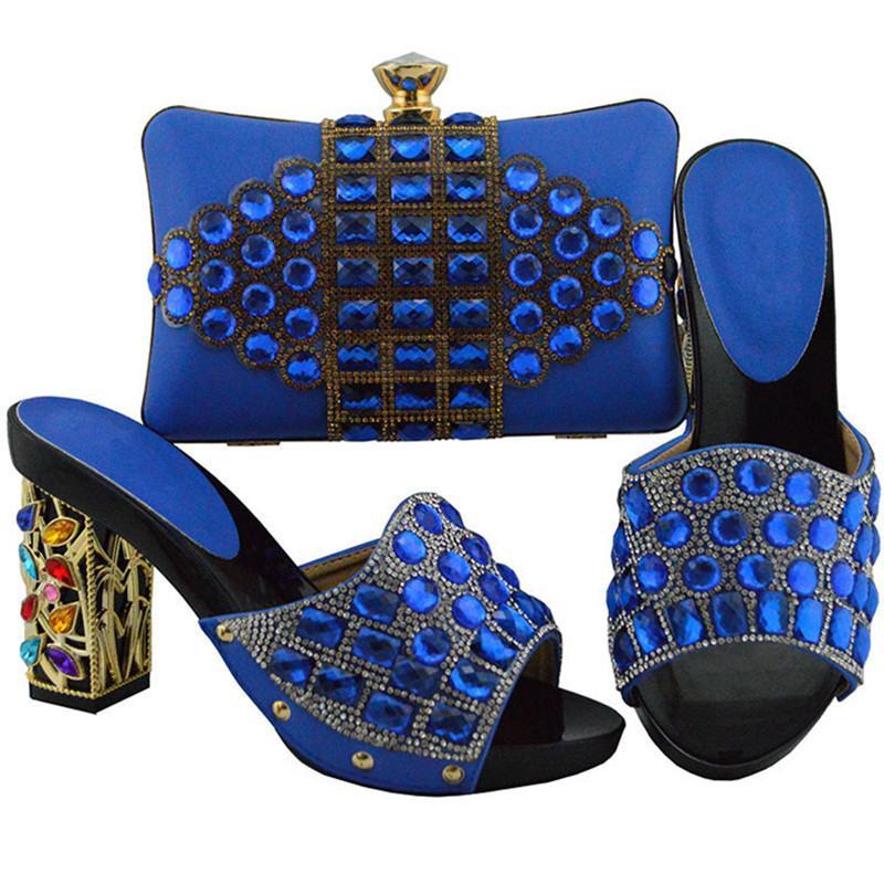여자 구두와 가방 세트 이탈리아 구두와 가방을 발 뒤꿈치에 맞추기 나이지리아 여성 구두 여성 구두 고품질 슬립